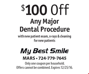 $100 Off Any Major Dental Procedure with new patient exam, x-rays & cleaning for new patients. Only one coupon per household. Offers cannot be combined. Expires 12/25/16.