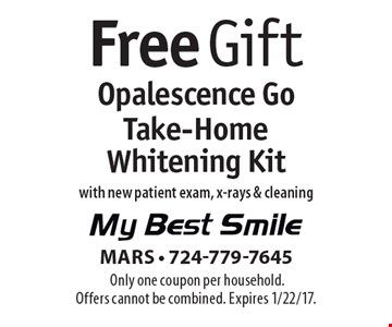 Free Opalescence Go Take-Home Whitening Kit with new patient exam, x-rays & cleaning. Only one coupon per household. Offers cannot be combined. Expires 1/22/17.