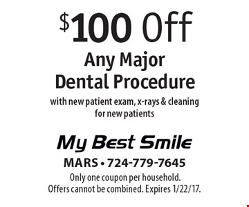 $100 Off Any Major Dental Procedure with new patient exam, x-rays & cleaning for new patients. Only one coupon per household. Offers cannot be combined. Expires 1/22/17.