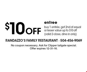 $10 off entree buy 1 entrée, get 2nd of equal or lesser value up to $10 off (valid 2-close, dine in only). No coupon necessary. Ask for Clipper tailgate special. Offer expires 12-31-16.