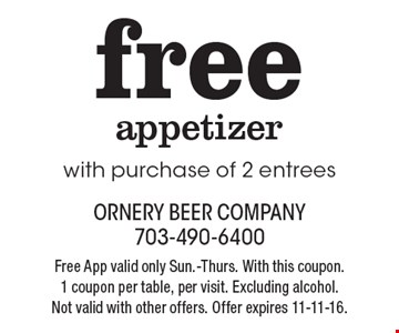 Free appetizer with purchase of 2 entrees. Free App valid only Sun.-Thurs. With this coupon. 1 coupon per table, per visit. Excluding alcohol. Not valid with other offers. Offer expires 11-11-16.