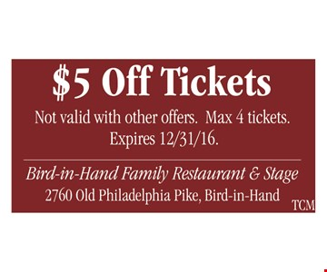 $5 Off Tickets