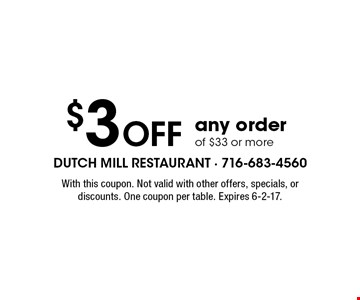 $3 Off any order of $33 or more. With this coupon. Not valid with other offers, specials, or discounts. One coupon per table. Expires 6-2-17.