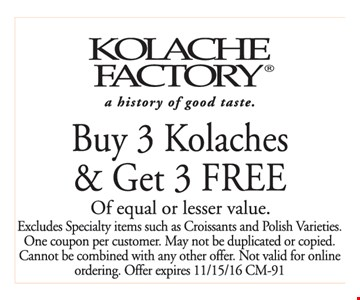 buy 3 kolaches and get 3 free