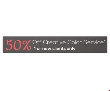 50% off creative color service.