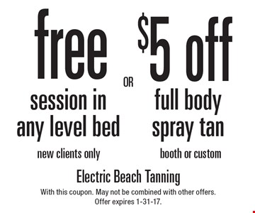 $5 off full body spray tan booth or custom. Free session in any level bed new clients only. With this coupon. May not be combined with other offers.Offer expires 1-31-17.