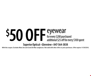 $50 off eyewear for every $200 purchased. Additional $25 off for every $100 spent. With this coupon. Excludes Maui Jim and Costa Del Mar sunglasses. Not valid with other offers or prior purchases. Offer expires 11/30/2016.