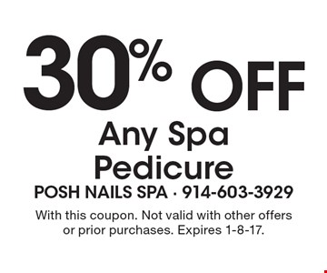 30% Off Any Spa Pedicure. With this coupon. Not valid with other offers or prior purchases. Expires 1-8-17.