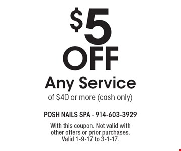 $5 Off Any Service of $40 or more (cash only). With this coupon. Not valid with other offers or prior purchases.Valid 1-9-17 to 3-1-17.