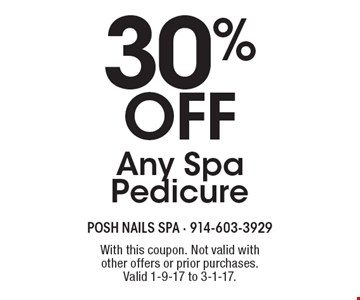 30% Off Any Spa Pedicure. With this coupon. Not valid with other offers or prior purchases.Valid 1-9-17 to 3-1-17.
