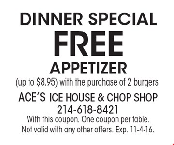 Dinner Special – Free Appetizer (up to $8.95) with the purchase of 2 burgers. With this coupon. One coupon per table. Not valid with any other offers. Exp. 11-4-16.