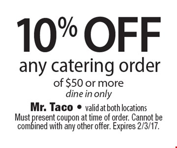 10% off any catering order of $50 or more. Dine in only. Must present coupon at time of order. Cannot be combined with any other offer. Expires 2/3/17.