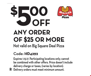 $5.00 Off Any Order of $25 or More