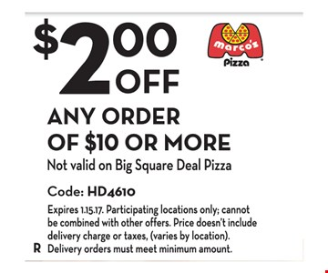 $2.00 Off Any Order of $10 or More