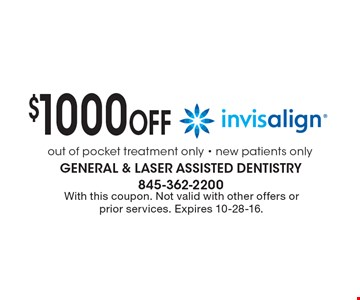 $1000 off Invisalign. With this coupon. Not valid with other offers or prior services. Expires 10-28-16.