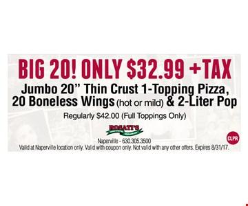 Big 20! Only $32.99 plus tax. Jumbo 20