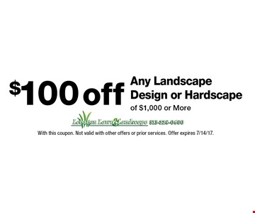 $100off Any Landscape Design or Hardscape of $1,000 or More. With this coupon. Not valid with other offers or prior services. Offer expires 7/14/17.