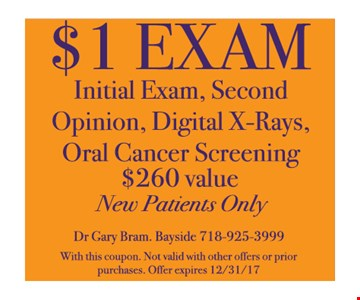 $1 Exam Initial Exam, Second Opinion, Digital X-Rays Oral Cancer Screening New Patients Only
