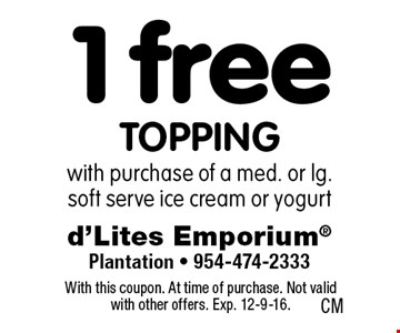 1 free toppingwith purchase of a med. or lg. soft serve ice cream or yogurt . With this coupon. At time of purchase. Not valid with other offers. Exp. 12-9-16.