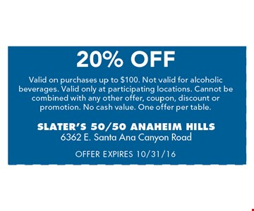 20% off. Valid on purchases up to $100. Not valid for alcoholic beverages. Valid only at participating locations. Cannot be combined with any other offer, coupon, discount or promotion. No cash value. One offer per table. Offer expires 10/31/16.