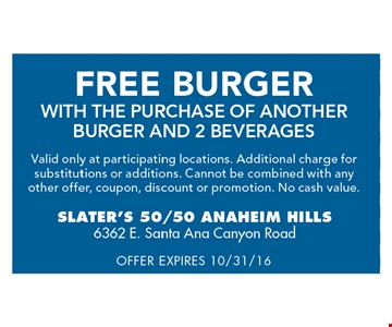 Free burger, with the purchase of another burger and 2 beverages. Valid only at participating locations. Additional charge for substitutions or additions. Cannot be combined with any other offer, coupon, discount or promotion. No cash value. Offer expires 10/31/16.