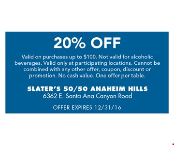 20% off. Valid on purchases up to $100. 12-31-16.