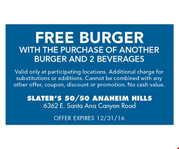 Free Burger with purchase of another burger and 2 beverages. Exp. 12-31-16.