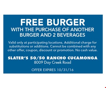 free burger with the purchase of another burger and 2 beverages