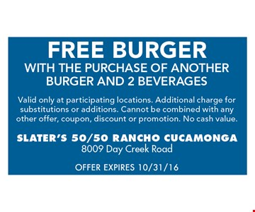 Free Burger with the purchase of another burger & 2 beverages