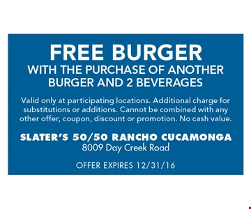Free Burger with the purchase of another burger and two beverages