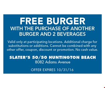 Free burger with the purchase of another burger and 2 beverages.
