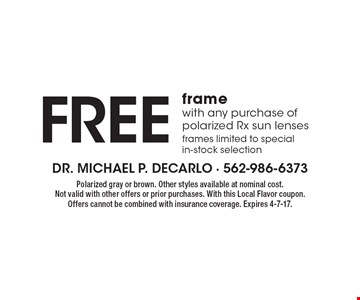 Free frame with any purchase of polarized Rx sun lenses. Frames limited to special in-stock selection. Polarized gray or brown. Other styles available at nominal cost. Not valid with other offers or prior purchases. With this Local Flavor coupon. Offers cannot be combined with insurance coverage. Expires 4-7-17.