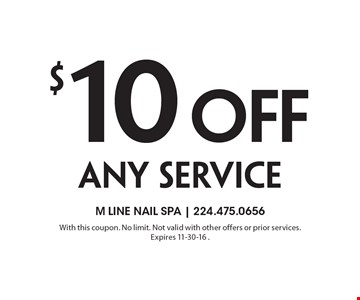 $10 Off any service. With this coupon. No limit. Not valid with other offers or prior services. Expires 11-30-16 .