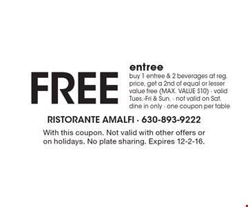 Free entree. Buy 1 entree & 2 beverages at reg. price, get a 2nd of equal or lesser value free (MAX. VALUE $10). Valid Tues.-Fri & Sun. Not valid on Sat. Dine in only. One coupon per table. With this coupon. Not valid with other offers or on holidays. No plate sharing. Expires 12-2-16.