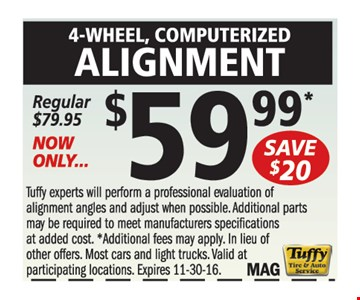 $59.99 4-Wheel Alignment