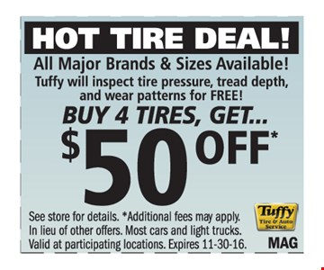 Buy 4 tires, get $50 off