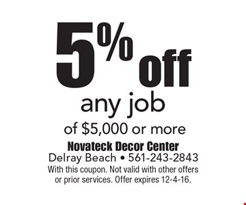5% off any job of $5,000 or more. With this coupon. Not valid with other offersor prior services. Offer expires 12-4-16.