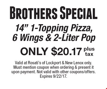 Brothers Special: ONLY $20.17 plus tax 14