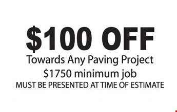 $100 Off Any Paving Project