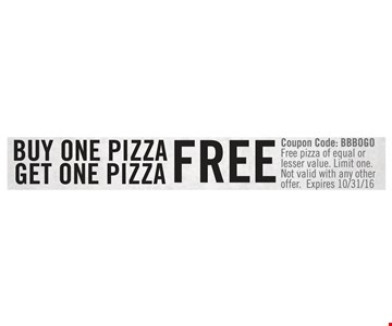 Buy one pizza, get one free