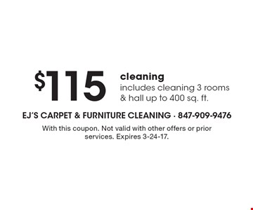 $115 cleaning. Includes cleaning 3 rooms & hall up to 400 sq. ft. With this coupon. Not valid with other offers or prior services. Expires 3-24-17.