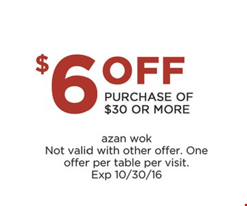 $6 off your $30 purchase.
