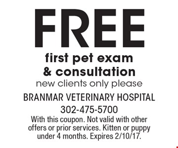 Free first pet exam & consultation new clients only please. With this coupon. Not valid with other offers or prior services. Kitten or puppy under 4 months. Expires 2/10/17.