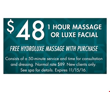$48 1 hour massage or luxe facial