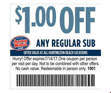 $1.00 off any regular sub