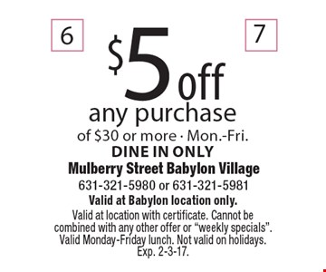 $5 off any purchase of $30 or more - Mon.-Fri. Dine in only. Valid at Babylon location only. Valid at location with certificate. Cannot be combined with any other offer or