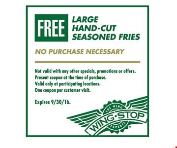 Free large hand-cut seasoned fries