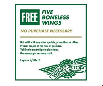 Free five boneless wings