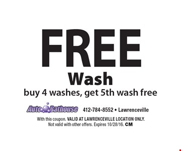 Free Wash. Buy 4 washes, get 5th wash free. With this coupon. VALID AT LAWRENCEVILLE LOCATION ONLY. Not valid with other offers. Expires 10/28/16. CM