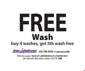 Free Wash. Buy 4 washes, get 5th wash free. With this coupon. VALID AT LAWRENCEVILLE LOCATION ONLY. Not valid with other offers. Expires 12/2/16. CM
